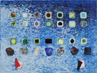 Jack Whitten's giant-sized painting 'Apps for Obama' is reminiscent of an iPad home screen.