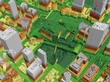A LIDAR (light, direction and ranging) image of the World Trade Center site from April 2010 will be included the the Woodward Gallery's