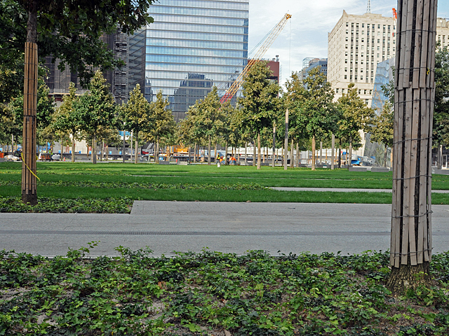The Memorial Plaza provides green space for visitors.