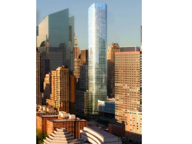 This residential and hotel tower at 50 West St. has been on hold for years but could rise if the credit markets thaw.