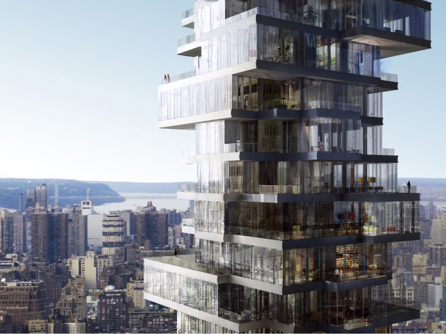 This 57-story residential building at 56 Leonard St. could rise with minimal design changes in the next few years after being put on hold during the recession.