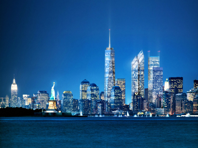 The new lower Manhattan skyline, once all of the World Trade Center towers are built.