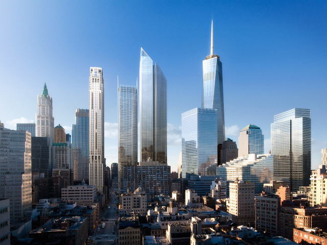 A rendering of the new World Trade Center Towers and Silverstein Properties' 99 Church St.