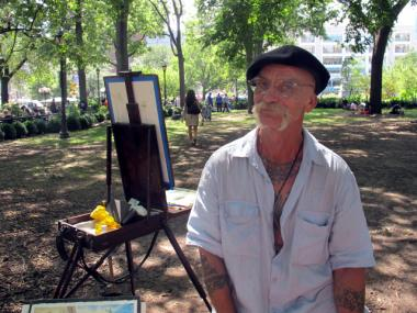 Lee Erickson, 61, paints street corners, buildings and landmarks around Manhattan.