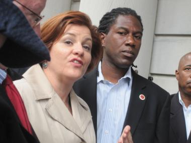 City Council Speaker Christine Quinn spoke beside Councilman Jumaane Williams at the City Hall press conference on Tuesday, Sept. 6, 2011.