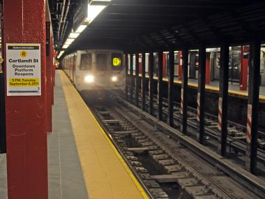 A train pulls into Cortlandt Street subway station on Mon., Sept. 6, 2011.