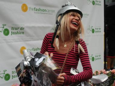 Superstar designer Betsey Johnson shows off her colorful Fashion Week wheels.