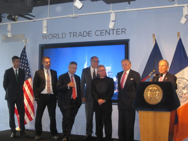 From right, Mayor Michael Bloomberg, developer Larry Silverstein, architect Daniel LIbeskind, Port Authority Executive Director Chris Ward, Assembly Speaker Sheldon Silver and 9/11 Memorial President Joe Daniels discussed World Trade Center rebuilding Sept. 7, 2011.