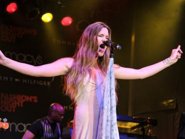 Singer Joss Stone performs at the Tommy Hilfiger Celebration during Fashion's Night Out at Macy's Herald Square on September 8, 2011 in New York City.