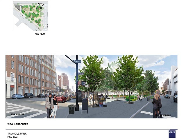 A 2009 design suggested a park of fewer than 8,500 sq. ft. that would have left more space for garbage facilities and a loading dock on the western half of the triangle.