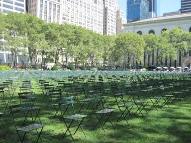 Chairs fill the lawn at Bryant Park to represent the victims of 9/11. The park also erected a similar memorial for the first anniversary of the tragedy.