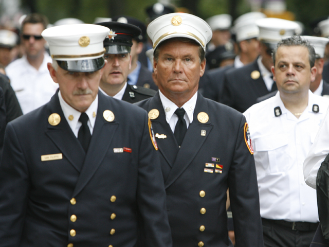 Members of the FDNY march in the Labor Day Parade on Fifth Avenue on Sept. 10, 2011.