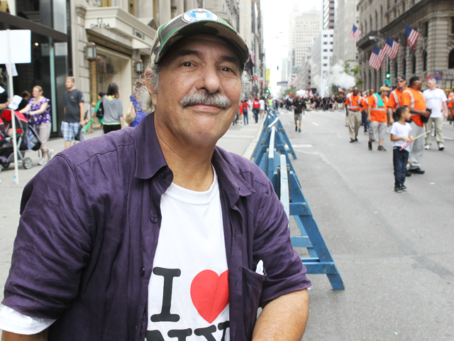 Kenneth Leikind, a Vietnam veteran who served with the U.S. Air Force as a munitions specialist attends Labor Day Parade on Sept. 10, 2011 on Fifth Avenue.