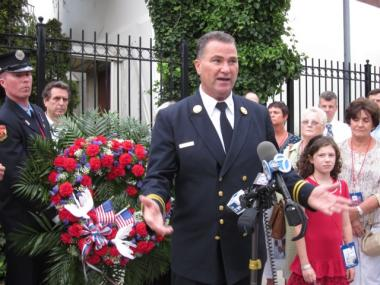 Retired FDNY Dep. Chief Jimmy Riches, who lost his firefighter son Jimmy in the 9/11 attacks, speaks at a memorial for unidentified remains on Sept. 10, 2011 at the Medical Examiner's Office.