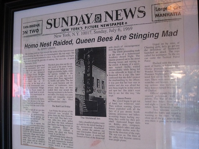 A 1969 newspaper article framed at The Stonewall Inn recounted the riots that year.