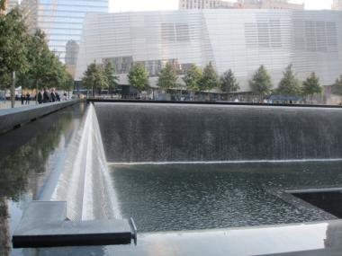 The South Tower reflecting pool, with what will be the National September 11 Museum in the background.
