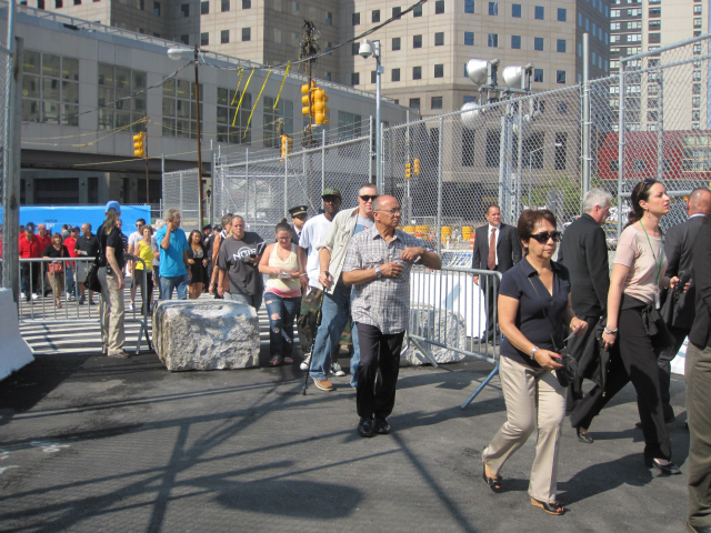 The first visitors to the public opening of the 9/11 Memorial entered shortly after 10 a.m. on Sept. 12, 2011.