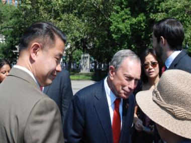 Mayor Michael Bloomberg and City Comptroller John Liu, who are often the subjects of each others' jabs, played nice Monday at a tree planting ceremony Downtown.