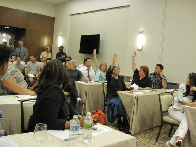 Opponents of the new Boxers location in Hell's Kitchen raise their hand.
