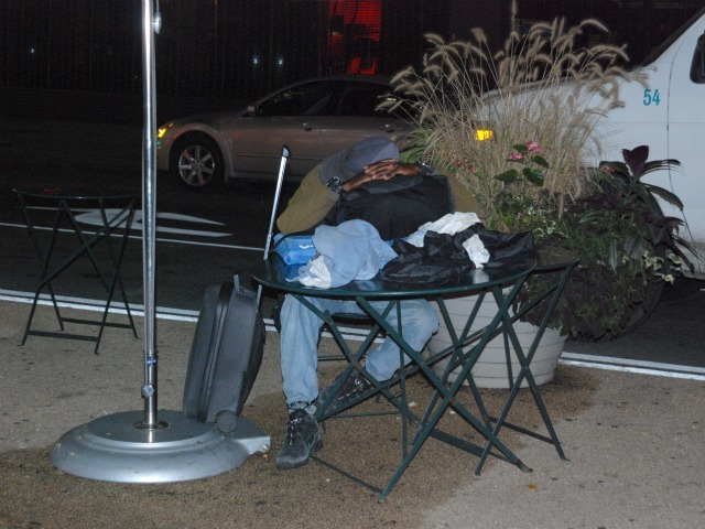 While not all of the men who sleep in the plazas are homeless, many said they were.