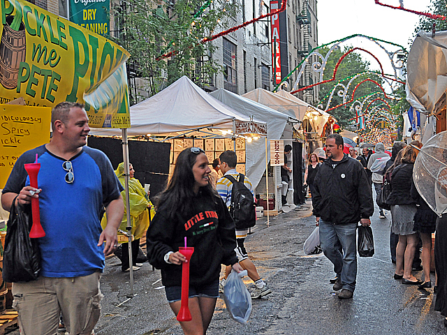 Two festival-goers didn't let a little rain get in the way of a good time on Thurs., Sept. 15, 2011.