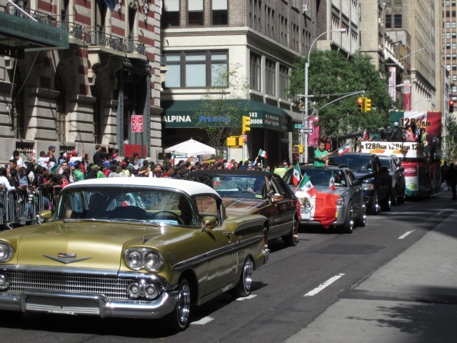 Classic cars line Madison Avenue for the Mexican Independence Day Parade on Sept. 18, 2011.