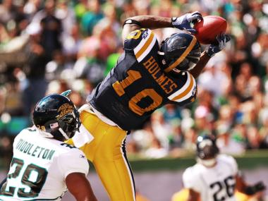 Santonio Holmes scores a first quarter touchdown during the Jets second game win against the Jaguars on Sept. 18, 2011.