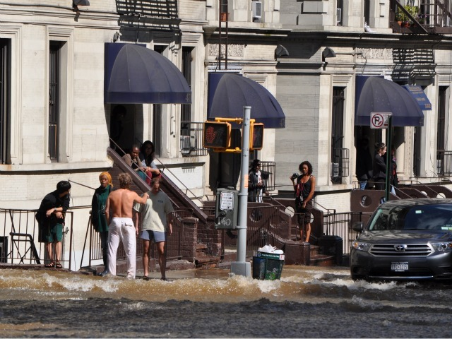 Residents watched in awe as Central Park West was turned into a river.