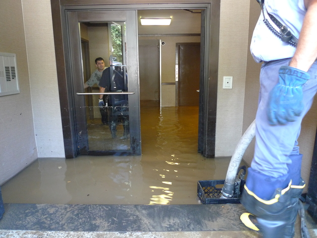A water main break flooded the basement of 461 Central Park West.