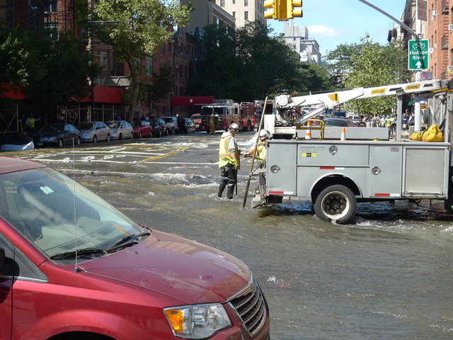 A water main break flooded the street near Central Park West and West 106th Street on Monday.