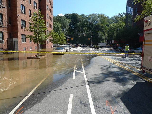 A water main break flooded streets, subway stations and basements on Central Park West and West 106th Street.