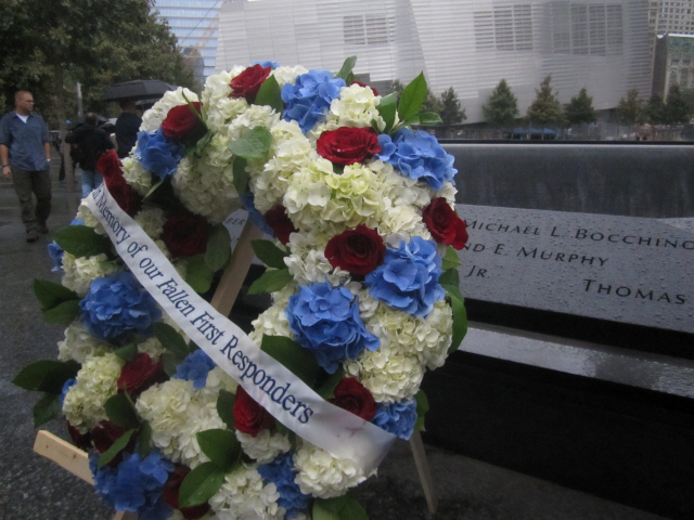 A wreath in memory of the 441 first responders killed on 9/11.
