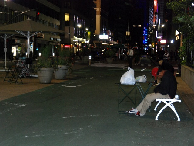 People asleep outside of Macy's Herald Square in the early morning hours of Tues., Sept. 20.