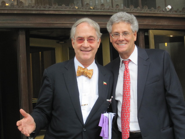 Former National Arts Club President O. Aldon James with his lawyer, Adam Gilbert, after a court hearing on Tuesday, Sept. 20.  James struck a victorious pose.