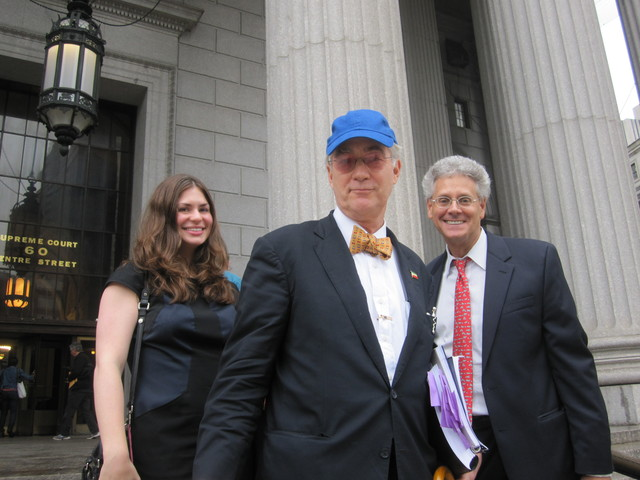 Former National Arts Club President O. Aldon James leaves Manhattan Supreme Court on Tuesday, Sept. 20 after a judge issued him a reprieve with his lawyer, Adam Gilbert (right) of Nixon Peabody and Kristin Jamberdino, an associate with the firm.