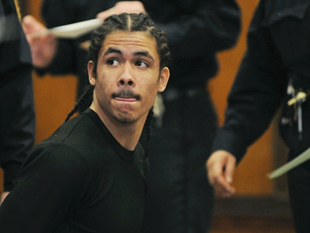 Brandon Santiago, an alleged gang member, during a court appearance in February 2011.