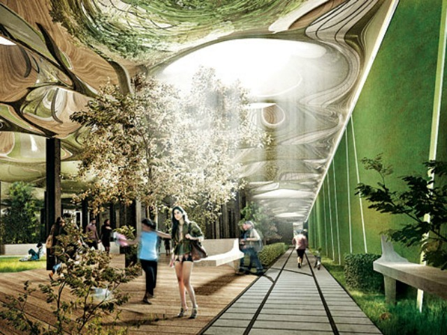 The project would include solar technology that channels light into the subterranean space.