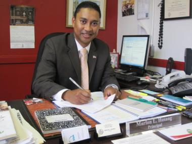 P.S. 64 Principal Marlon Hosang in his office at the school on East Sixth Street and Avenue B.