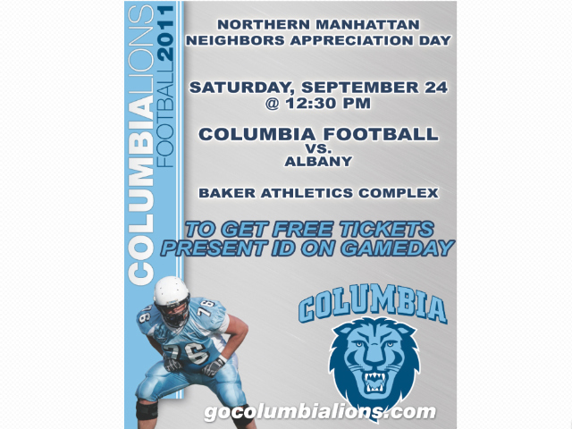 The free event is part of Columbia University's community agreement tied to its Baker Field project — a new $100 million 47,700-square-foot field house on the corner of West 218th Street and Broadway.
