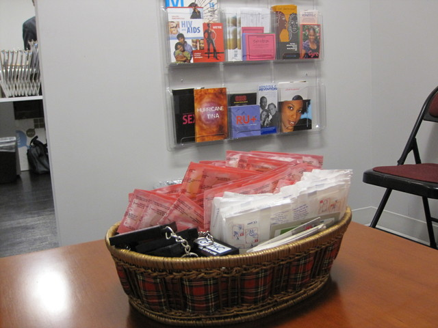 The new center offers condoms and safe-sex pamphlets to clients.