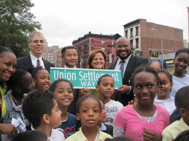 Union Settlement Association Executive Director David Nocenti, Comptroller John Liu, Councilwoman Melissa Mark-Viverito and Community Board 11 Chair Matthew Washington.