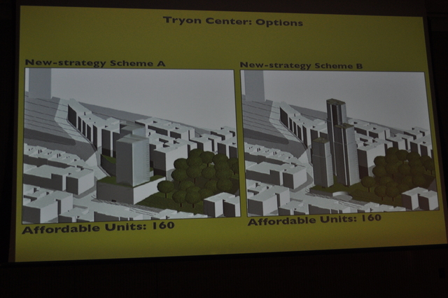 Two renderings of skyscraper plans that would include affordable housing elements if approved.