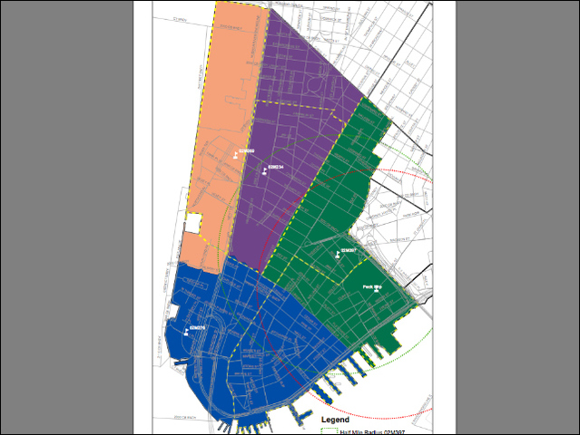 The proposed rezoning of lower Manhattan's schools for the fall of 2012. The current zones are shown in bold colors, while the proposed zones are outlined in yellow dotted lines.