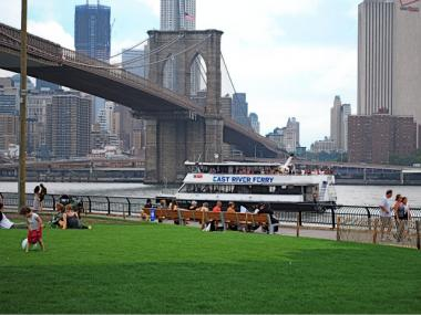The East River Ferry near the Brooklyn Bridge.