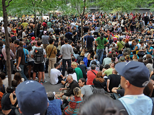 The crowd at Zuccotti Park on Sept. 30, 2011, where Occupy Wall Street protesters have gathered and Radiohead was supposed to play