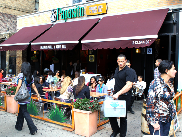 "People enjoy brunch at ""Papasito,"" on Dyckman St., Inwood on Oct. 2nd, 2011. (Popular dishes include: Omelettes & waffles, ""mangu,"" French Toast, skirt steak, mimosas.}"