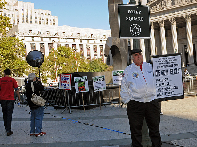 A union member at Foley Square on Oct. 5, 2011 ahead of an Occupy Wall Street protest.