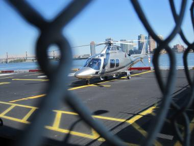 A helicopter parked at the East 34th Street Heliport.
