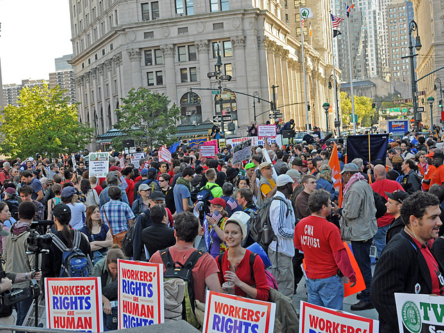Protesters jam into Foley Square for an Occupy Wall Street protest on Oct. 5, 2011.