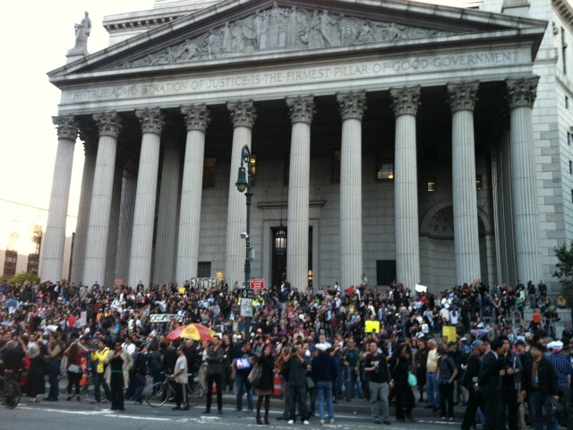 Occupy Wall Street protesters pack the steps of the New York County Courthouse in Foley Square on Oct. 5, 2011.